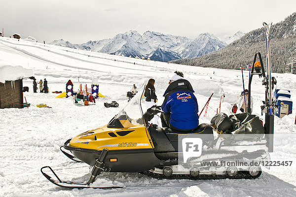 Snowmobile  Torgnon  Aosta Valley  Italy