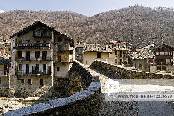 Roman bridge  Fontainemore  Aosta Valley  Italy