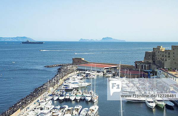 Naples  Italy  View of the Dell'Ovo castle over the marina