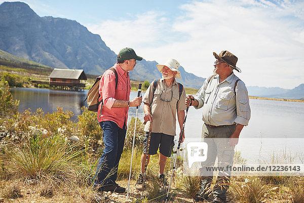 Aktive Seniorenfreunde beim Wandern am sonnigen Sommersee