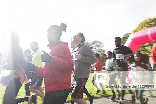 Läufer beim Benefizlauf im sonnigen Park