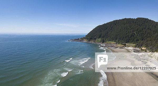 USA  Oregon  Headland  Aerial view of beach