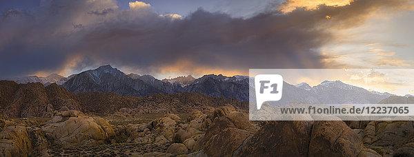 USA  California  Alabama hills  Snowcapped mountains at sunset