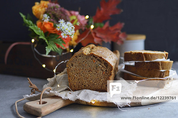 Autumnal carrot cake in a loaf tin  sliced