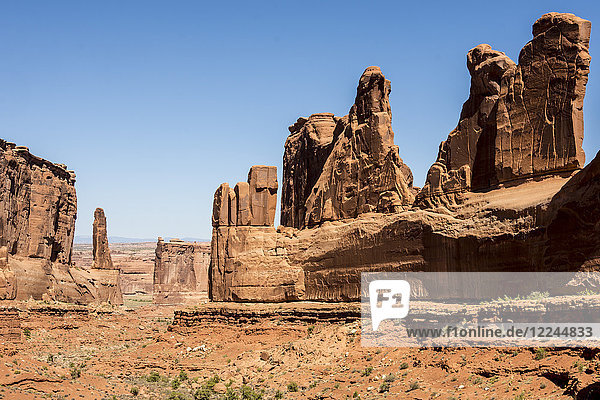 Sandstone towers along Park Avenue canyon  Arches National Park  Moab  Utah  United States of America  North America