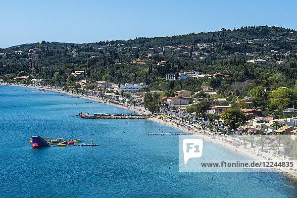 The beach of Corfu Ipsos  Corfu  Ionian Islands  Greek Islands  Greece  Europe