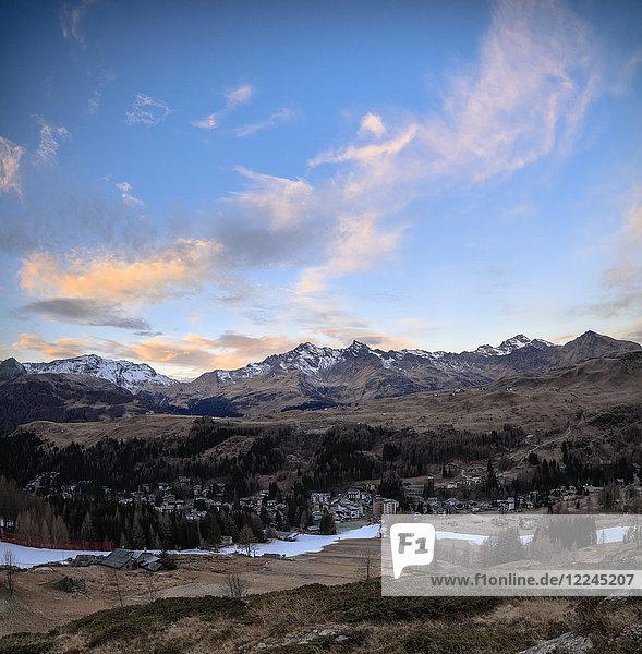 Panoramic of Madesimo at dawn  Spluga Valley  Sondrio province  Valtellina  Lombardy  Italy  Europe