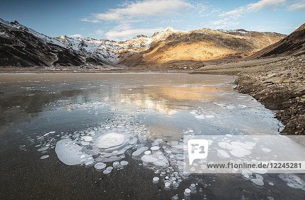 Ice bubbles  Montespluga  Chiavenna Valley  Sondrio province  Valtellina  Lombardy  Italy  Europe