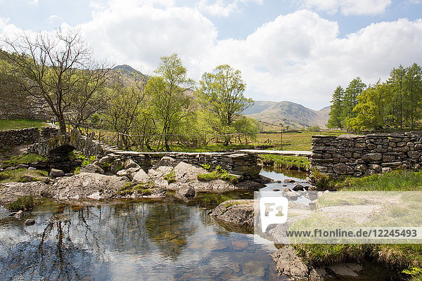 Slater's Bridge  a 17th century packhorse bridge  Little Langdale  Lake District  UNESCO World Heritage Site  Cumbria  England  United Kingdom  Europe