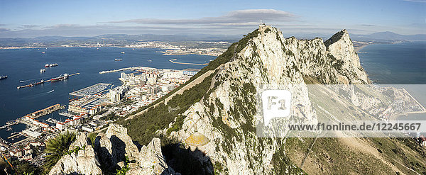 Looking north from O'Hara's Battery along the crest of the Rock  Gibraltar  Europe