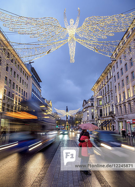 Regent Street with Christmas illuminations at twilight  London  England  United Kingdom  Europe