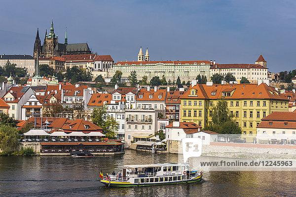 View of the Prague Castle and the Vltava River  Prague  Czech Republic  Europe