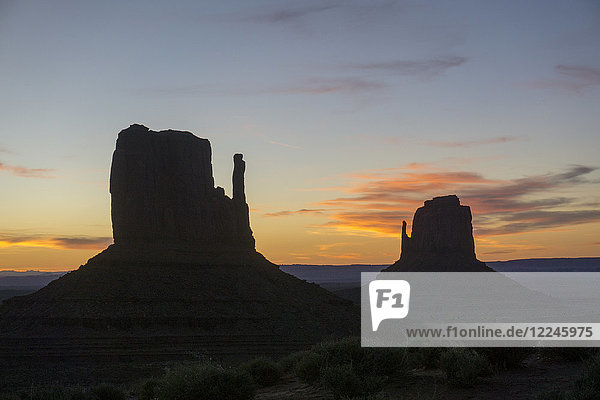 The Mittens West and East  Monument Valley  Arizona  United States of America  North America