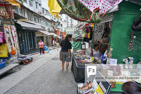 A small market street in the Mid-Levels area  Hong Kong Island  Hong Kong  China  Asia