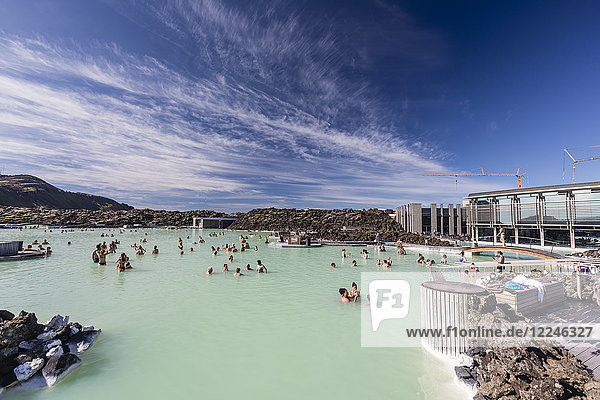 Guests enjoy the thermal waters of the Blue Lagoon (Blaa Ionid)  Iceland  Polar Regions