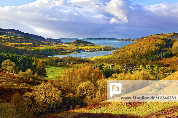 A scenic autumn view of a coastal landscape in the Scottish Highlands  looking towards Loch Melfort  Highlands  Argyll and Bute  Scotland  United Kingdom  Europe