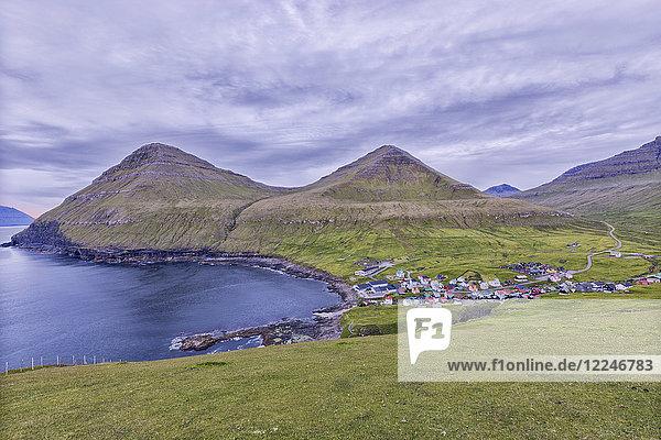 The village of Gjogv in between mountains and ocean  Eysturoy Island  Faroe Islands  Denmark  Europe