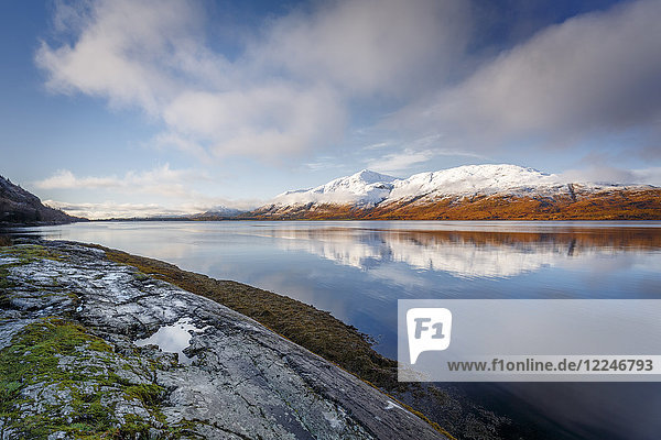 Wintery scene of Loch Linnhe  near Fort William  in calm weather with reflections  Highlands  Scotland  United Kingdom  Europe
