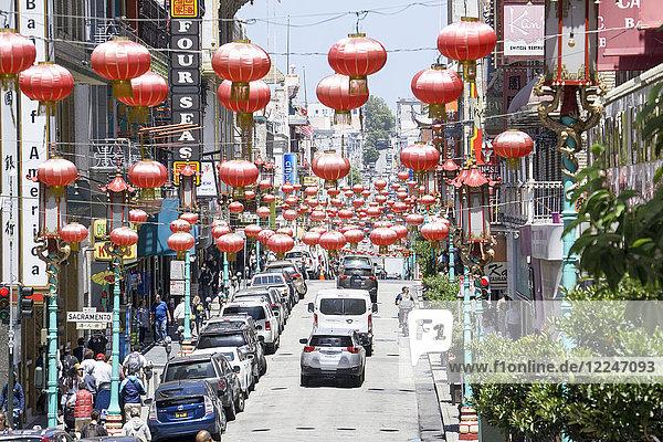 Red lanterns  China Town  San Francisco  California  United States of America  North America