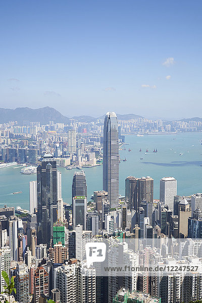 City skyline  viewed from Victoria Peak with Two International Finance Centre (2IFC)  Hong Kong  China  Asia