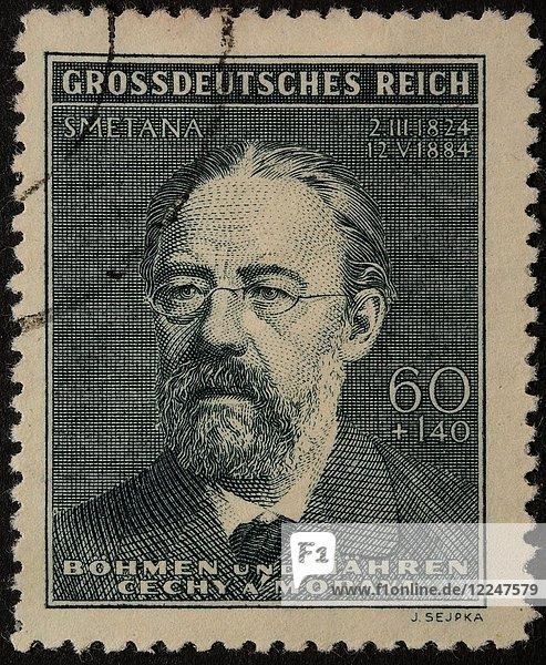 Bedrich Smetana  tschechischer Komponist  Porträt auf deutscher Briefmarke aus dem Jahr 1944
