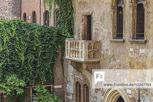 Balkon am Haus der Julia  Casa di Giulietta  Via Cappello  Verona  Venetien  Italien  Europa