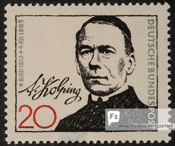Adolf Kolping  deutscher römisch-katholischer Priester  Porträt auf deutscher Briefmarke 1965