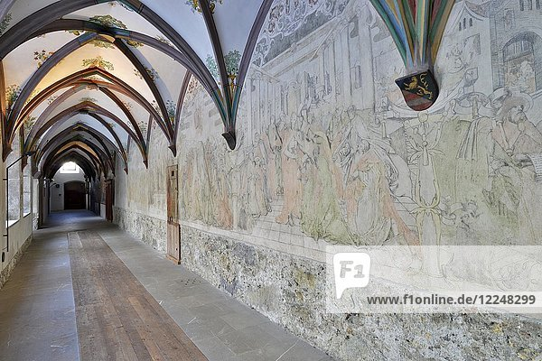 Frescoes in the cloister of the Franciscan Monastery  Schwaz  Tyrol  Austria  Europe