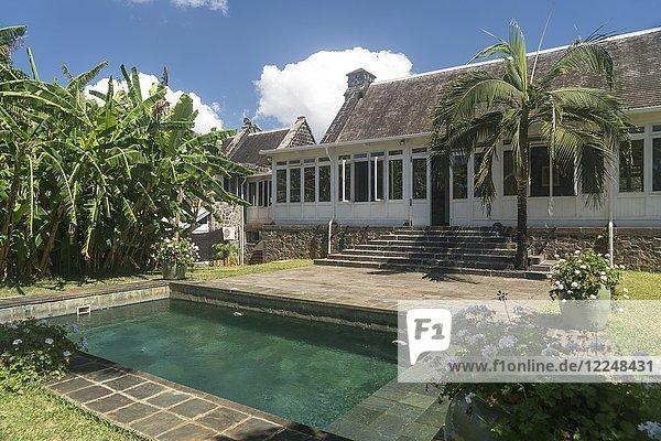 Pool of the historical colonial villa Eureka House or Maison Eureka  Moka  Mauritius  Africa