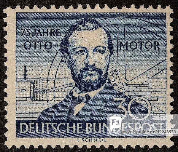 Nicolaus Otto  deutscher Ingenieur  der den Viertakt-Verbrennungsmotor entwickelt hat  Porträt auf einer deutschen Briefmarke 1952
