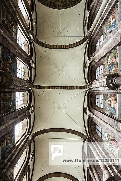 Interior view of the ceiling vault  central nave  Speyer Cathedral  Kaiserdom  Speyer  Rhineland-Palatinate  Germany  Europe