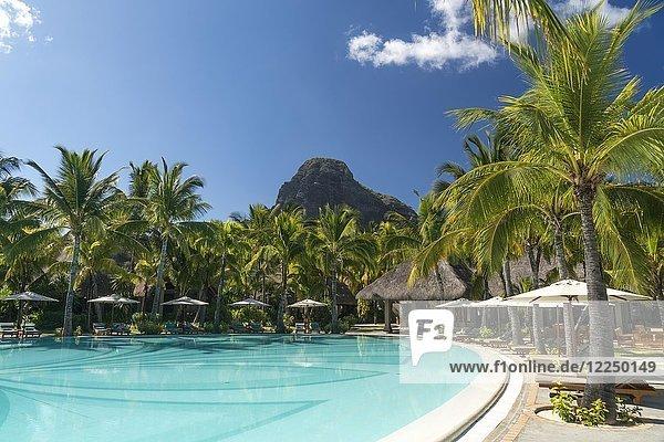 Pool of the Hotel Dinarobin Beachcomber  in the back mountain Le Morne Brabant  peninsula Le Morne  Black River  Mauritius  Africa
