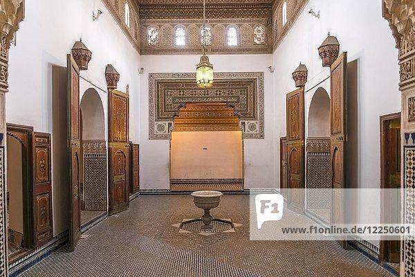 Innenraum im Palast von Bahia  Marrakesch  Marokko  Afrika