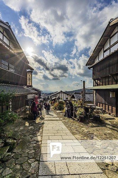 Typische Häuser  Magome  Kiso-Tal  Japan  Asien