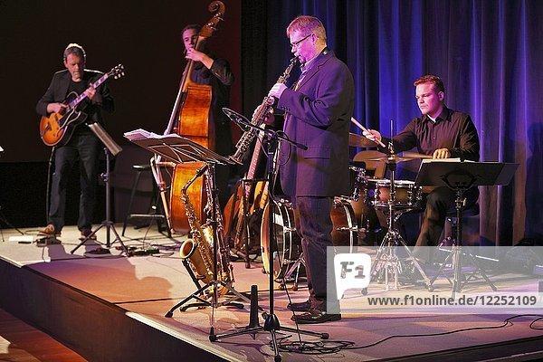 Bigband  Gerold Heitbaum Quartet on stage  Bendix Maeder on saxophone  Wittenberg  Saxony-Anhalt  Germany  Europe