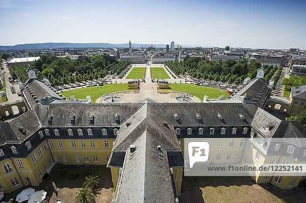 View from Karlsruhe Palace to palace garden and city  Badisches Landesmuseum  Karlsruhe  Baden-Württemberg  Germany  Europe