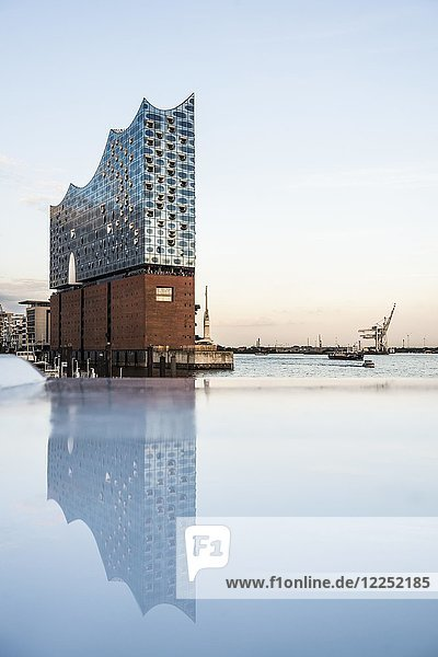 Elbe Philharmonic Hall in the evening light with water reflection  architects Herzog & De Meuron  Hafencity  Hamburg  Germany  Europe