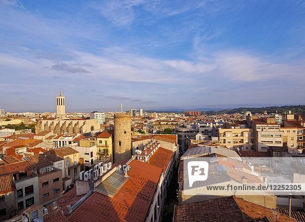 View of the city with the Torre del Palau and the Catedral Basilica del Sant Esperit  Terrassa  Barcelona Province  Catalonia  Spain  Europe