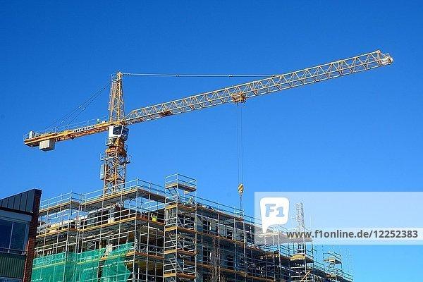 Kran vor blauem Himmel auf einer Baustelle  Ystad  Scania  Schweden  Europa