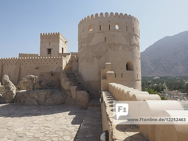 Fortress Nakhl with round tower and battlements  Nakhl  Oman  Asia