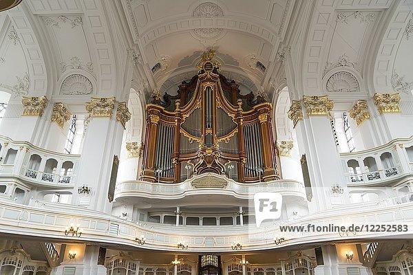 Organ gallery with church organ  main church St. Michaelis or Michel  Hamburg  Germany  Europe