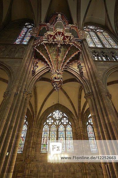Orgel  gotische Schwalbennestorgel im Langhaus  Straßburger Münster  Straßburg  Elsass  Frankreich  Europa