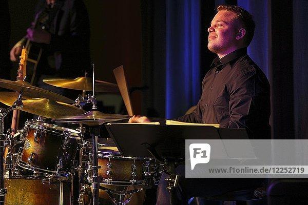 Jazz drummer Markus Lämmel of Gerold Heitbaum Quartet in concert  Wittenberg  Saxony-Anhalt  Germany  Europe