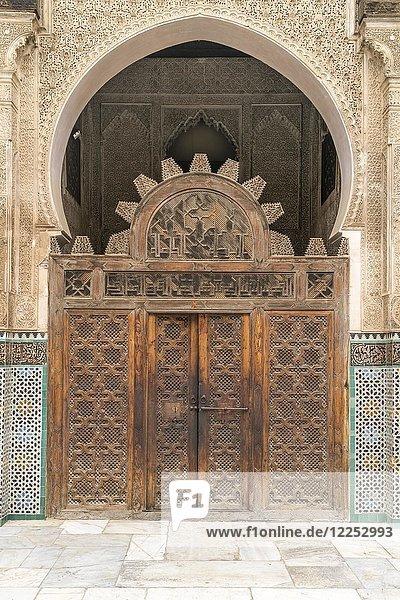 Tor der Koranschule Medersa Bou Inania  Fes  Marokko  Afrika