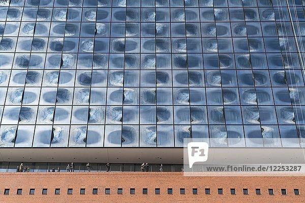 Besucher auf der Aussichtsplattform unter Glasfassade  Elbphilharmonie  Hamburg  Deutschland  Europa