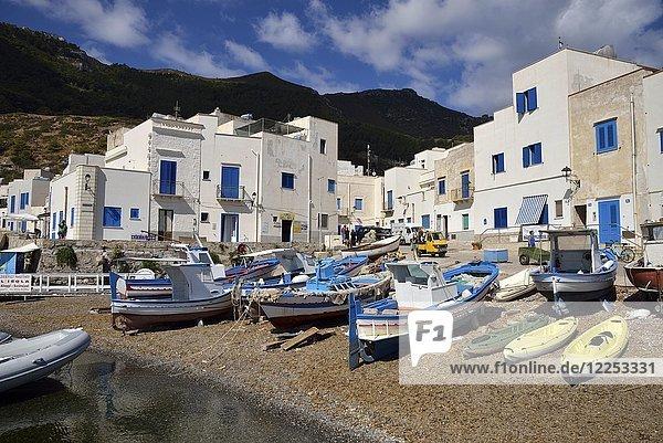 Fishing boats in the port of Marettimo  island of Marettimo  Egadic Islands  Italy  Europe