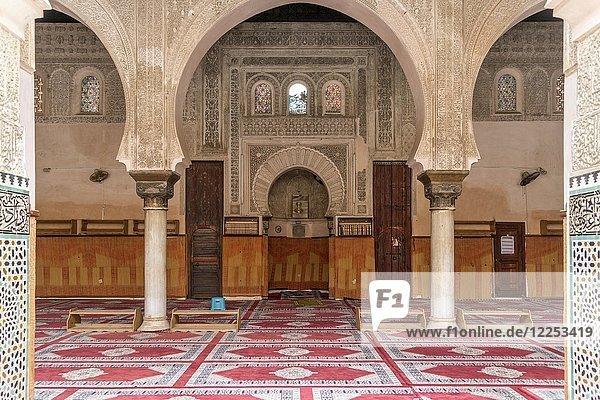Innenraum der Koranschule Medersa Bou Inania  Fes  Marokko  Afrika