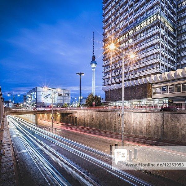Berlin Alexanderplatz  TV Tower and Haus des Reisens in evening twilight  Berlin  Germany  Europe