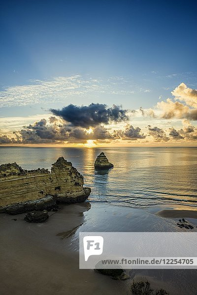 Coloured cliffs and sunrise at the beach  Praia da Dona Ana  Lagos  Algarve  Portugal  Europe