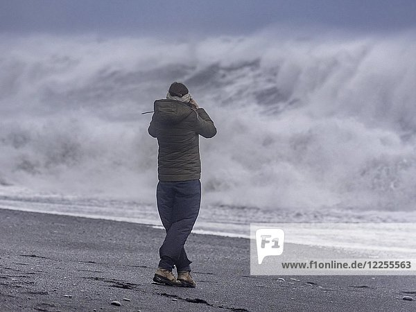 Touristin vor Sturmwellen am Reynisfjara Black Sand Beach  Vik  Suðurland  Island  Europa